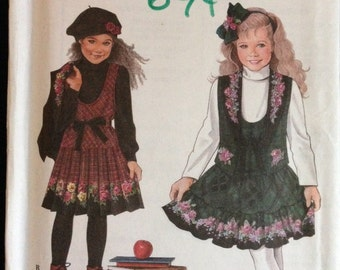 Simplicity 9167 - Girl's Daisy Kingdom Jumper and Vest - Size 5 6 7 8