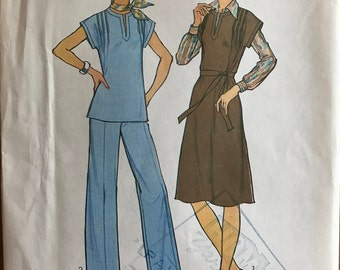 Simplicity 7601 - 1970s Simple to Sew Kurti Style Tunic or Jumper Dress and Wide Legged Pants - Size 10 Bust 32.5