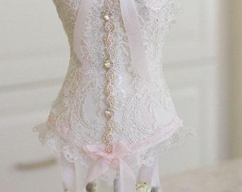 Lingerie bridal shower centerpiece, bridal shower decoration, corset centerpiece, blush and cream shower decoration, corset, ivory and blush