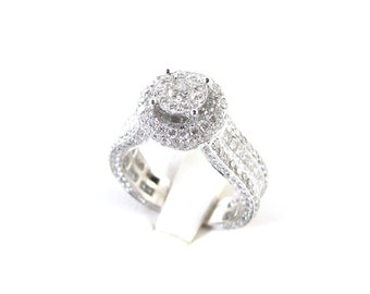 14 K White Gold Fancy Diamond Engagement Ring Size 7 1/2  4.00 carats