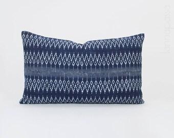 "SALE - Hmong Hill Tribe Handspun Indigo Pillow, Batik Cotton Lumbar Pillow Cover / Bolster Hmong Cushion Cover 12x20"" Tribal Ethnic Zig Zag"
