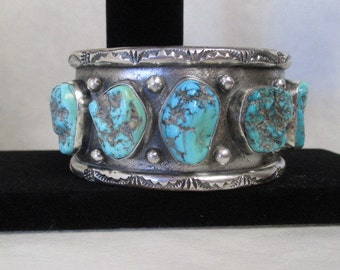 old pawn jewelry 128 grams Large signed southwestern native american turquoise bracelet, vintage cuff bracelet, dead pawn jewelry, unisex