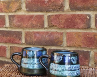 Pair of Studio Pottery Mugs - True Retro Feel - Hand-made with layered lava glazes - Alfresco Dining or Camping