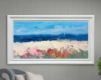 Impressionist Beach Painting Oil Painting Original Painting Beach Art Ocean Painting Seascape Painting Large Painting Anniversary Gift Ideas