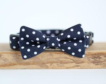 Dark Navy spot Dog Bow Tie