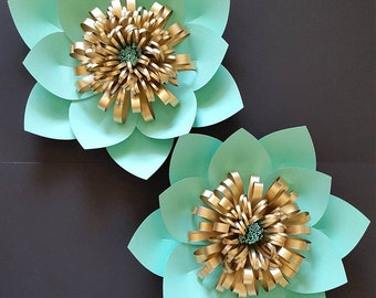Paper flower backdrop, Set of 2 flowers in mint green and gold, Nursery decor