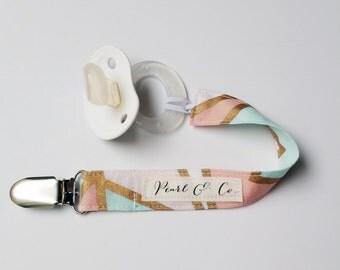 Pacifier Clip: Blush & Mint Mosaic - Pacifier Clip Girl - Binky Clip Girl - Paci Clip Girl - Pink Pacifier Clip - Geometric Pacifier Clip