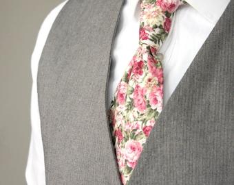 Mens Tie TC078 Floral tie Pink peony necktie Handmade Cotton Men's necktie Wedding necktie Boom Bow
