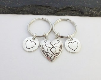 Mother And Daughter Keychain, Mother & Daughter Keyring, Mum Gift, Mother Daughter Gift, Heart Keyring,Keychain,Mum Keyring,Mothers Day Gift