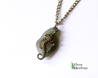 Olive green sea glass necklace
