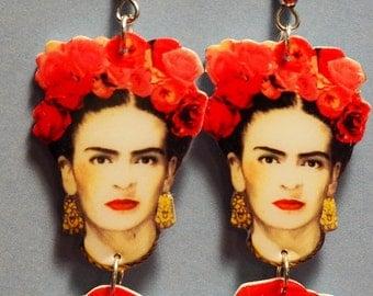 Handmade Frida Kahlo earrings - Illustration jewelry