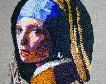 Crochet Girl with a Pearl Earring 40x50 (Without wooden subframe)