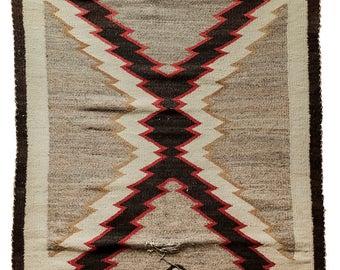 "Vintage Navajo Rug - Beautiful Geometric Storm Pattern X Design circa 1930s - 5'4"" x 3'2"" / 65 x 38.4in  / 165 x 96cm"
