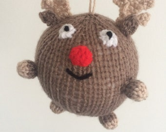 reindeer christmas bauble knitted xmas decoration rudolph knit amigurumi handmade crochet holidays