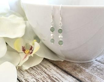 Delicate Green Aventurine Swarovski Pearl Earrings