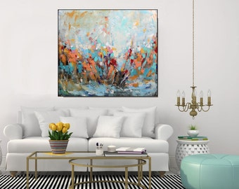 Original Large Abstract Painting, Colorful Orange Blue Green Wall Art Large Painting On Canvas, Living Room Art, Mantel Decor, Christovart