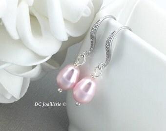 Dangle Earrings, Bridesmaid Earrings, Pink Drop Earrings, Bridal Earrings, Wedding Earrings, Swarovski Rosaline Pearl Earrings, Gift for Her