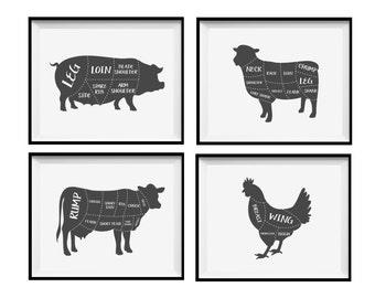 Butcher Diagram Prints - Kitchen Art Print Poster - Cow Pig Lamb Chicken - Cuts of Meat - Butcher Cuts Poster Prints - Charcoal Grey