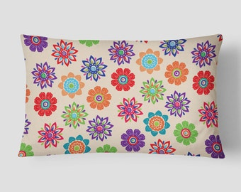 Floral Lumbar Pillow, Bright Pillow Case, 14x20 Cushion Cover, Flowers Cushion, Decorative Pillow, Red Green Purple, Colorful Accent Pillow