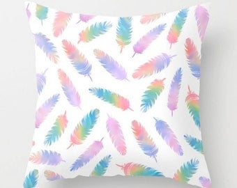 Bohemian Pillow, Colorful Throw Pillow, Boho Cushion, Decorative Pillow, Colorful Feathers Decor Cushion, 16x16 18x18 20x20, White Purple