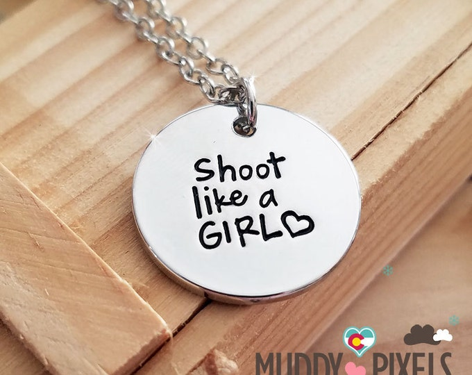 Adorable round stamped necklace - Shoot like a girl