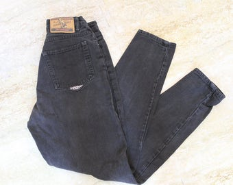 "No Excuses Femme Fatale button fly black high waisted jeans - size 27"" womens - vintage"