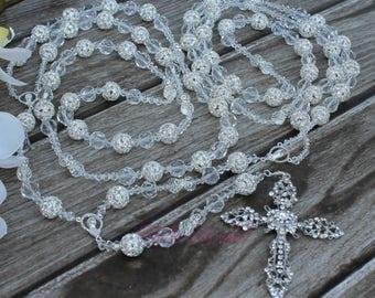 FAST SHIPPING!! Beautiful Wedding lasso, Silver Unity Cord, Crystal Wedding Lasso