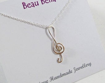 Silver Music Necklace, Treble Clef Pendant, Music Lover Gift, Musician Gift, Singer Gift, Sterling Silver, Delicate, Wirework Music Note