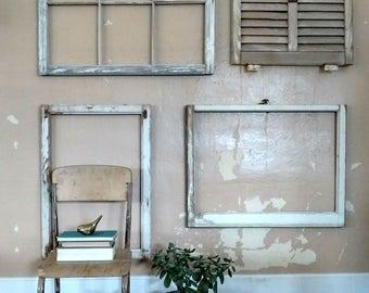 1 architectural salvaged window frame, antique window, 6 pane window