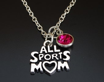 All Sports Mom Necklace, Sports Mom Charm, Sports Mom Pendant, Sports Mom Jewelry, Football Mom Necklace, Soccer Mom Necklace, Baseball Mom