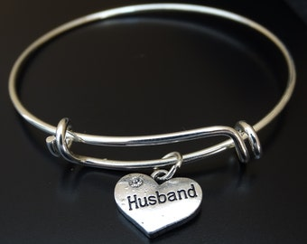 Husband Bangle Bracelet, Adjustable Expandable Bangle Bracelet, Husband Charm, Husband Pendant, Wife Gift, Wife Birthday, Gift for Wife