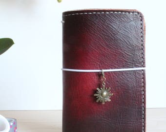 Leather Travelers Notebook with pockets - Stitchdori - TN - Planner - Handmade - Journal Notebook - Personal Size - Fauxdori