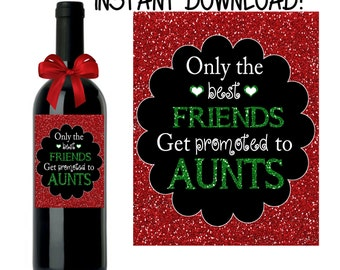 Pregnancy Announcement, Baby Announcement Wine Bottle Label, INSTANT DOWNLOAD Printable Wine Label, Christmas Pregnancy Announcement