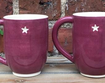 Set of Two Mugs in Maroon