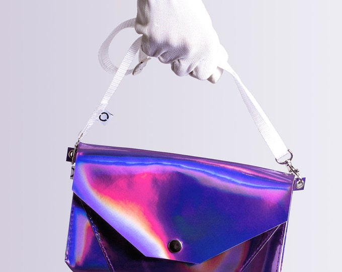 violet holographic bum bag / cross body bag
