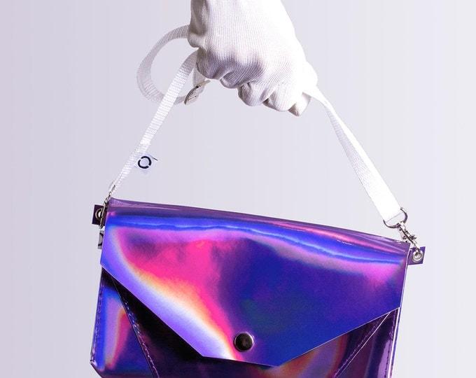 violet holographic bum bag / cross body bag