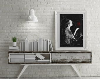 It's a hard to be a bright light in a dim world, Modern Home Decor, Wall Art, Black and red art, Black And White Art, Contemporary Art, Girl