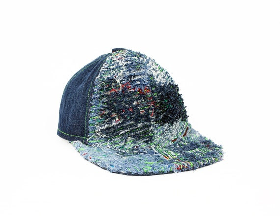 baseball cap upcycled - faux chenille