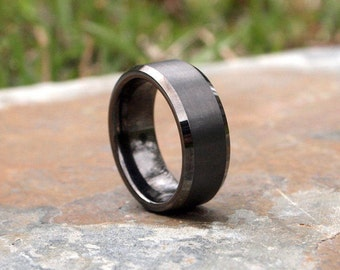 Gunmetal Beveled Edge Brushed and Polished Tungsten Carbide Ring • Men's 8mm Wedding Band • Size 8-12 • (SKU: 348GUP)