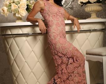 """Pink Crochet Evening Dress """"Palmira"""" Bohemian Dress Floor Length Gown Hand Crocheted Dress"""