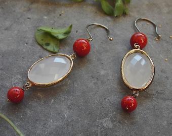 Dangle Earrings,Silver Earrings,Coral Earrings,Silver Jewelry,Crystal Earrings,Birthday Gift,Gold Earrings,Woman Gift,Drop Earrings