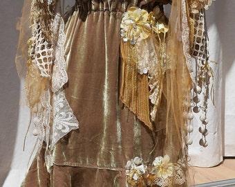 """RESERVED SET dress and Shawl velours soie """"Lichen Givrée"""" , Art à porter, Unique, féminine"""
