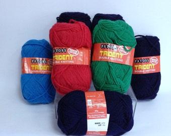 Patons DK Yarn Destash Bundle of Wool Skeins Bright Vintage Yarn for Crochet Handknitting Handmade Headband Trident DK Yarn Made in England