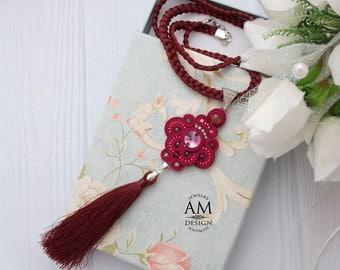 Tassel Necklace Boho Chic Necklace Long Red Necklace Soutache Necklace Beaded Statement Necklace Swarovski Crystal Jewelry