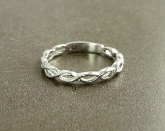 infinity braided ring triskele of spirals sterling silver wedding band irish promise - Celtic Wedding Ring