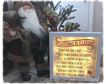 Christmas in heaven shadow box, lighted shadow box, memorial christmas shadow box with lights, because someone we love is in heaven gift