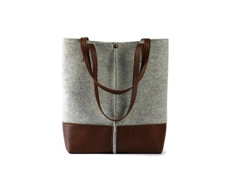 FREE SHIPPING,Leather tote bag, handmade bag,felt bag,felt & leather shoulder bag, tote large tote bag, felt tote bag