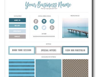 Blog Branding Kit, Blog Kit, Branding Kit, Blogger Kit, Social Button, Homepage Tabs, Blog Design Kit, Blog Graphics, Beachfront, Watercolor