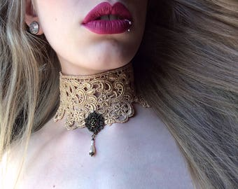 Vintage jewelry, vintage choker, antique necklace, antique gold necklace, gold lace choker, bridal lace jewelry, victorian jewelry, necklace