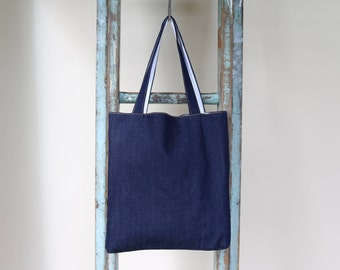 Organic Raw Denim Tote Bag (with and without logo print on front)